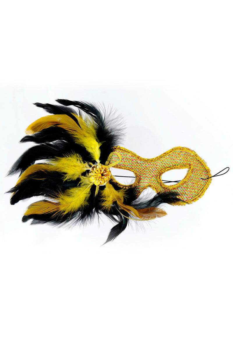 Gold Madam Butterfly Venetian Mask With Feathers