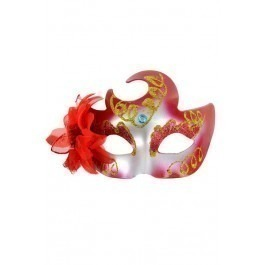 Red Faust Venetian Mask With Satin Flower - Red
