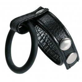 Two Way Leather Studded Cock Strap & Ball Ring