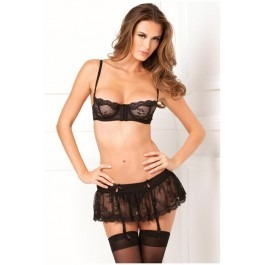 Rene Rofe Hooking Up Bra, Skirt & G-string Set - Black