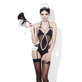 Fever Maid Bodysuit, Suspenders & Headpiece Set