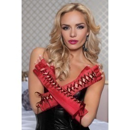 Seven Til Midnight Fingerless Elbow Length Lace-up Gloves - Red
