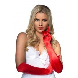 Seven Til Midnight Long Satin Opera Gloves - Red