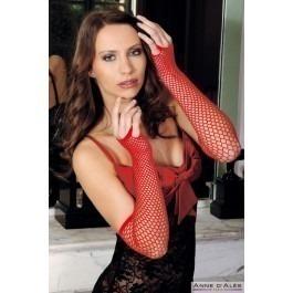 Anne D'alles Nathalia Fishnet Gloves - Red